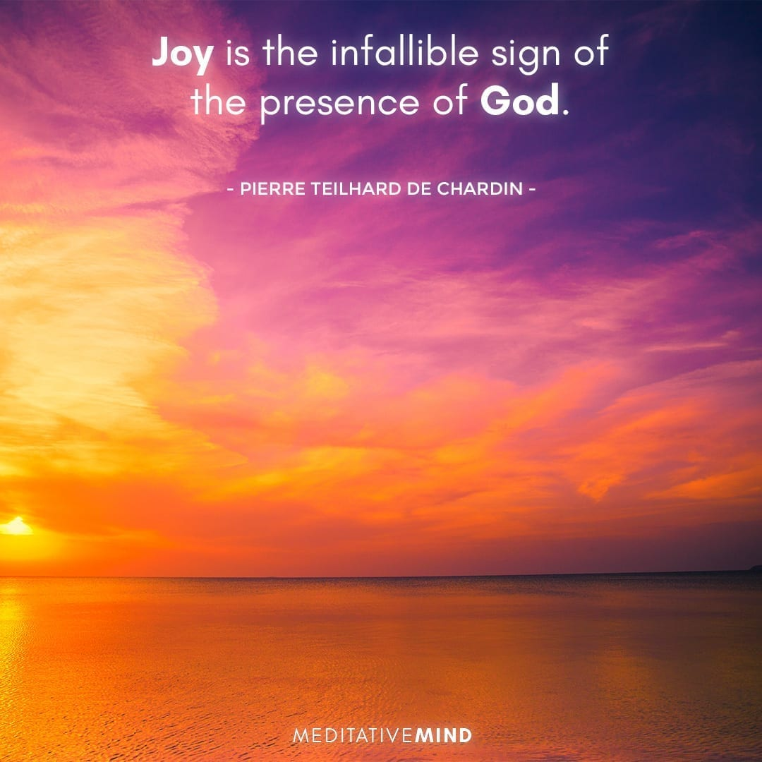 Joy is the infallible sign of the presence of God.