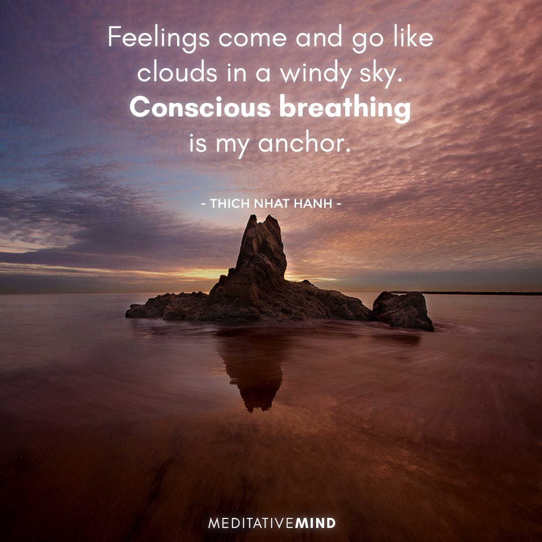 Feelings come and go like clouds in a windy sky. Conscious breathing is my anchor.