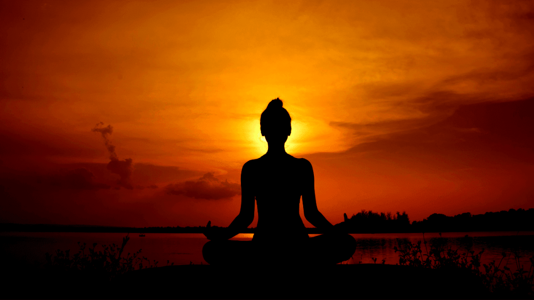 meditation by the peaceful sun signifying shanti mantra or peace