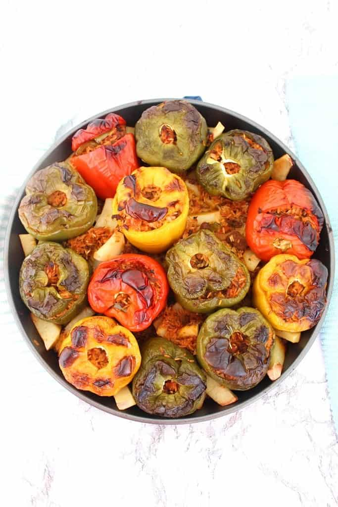 An Albanian Stuffed Peppers Recipe with Ground Beef