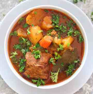 A bowl of Meat & Potatoes Stew