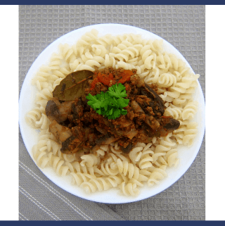Gluten Free Quinoa Pasta served with Mushrooms Beef Pasta Sauce