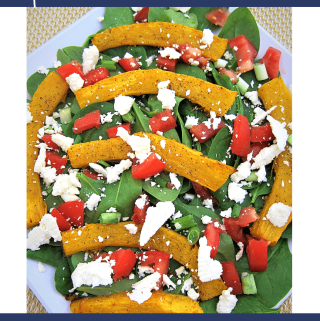 Roasted Pumpkin Spinach and Feta Salad, Fall Salad