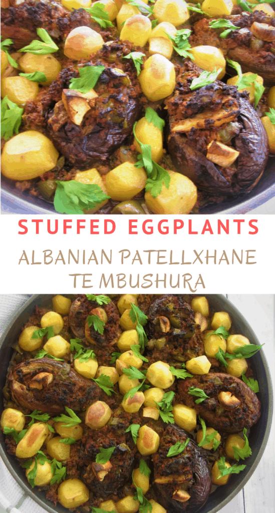 Stuffed Eggplants (Aubergines) Albanian Patellxhane te Mbushura or Imam Bajalldi (Imam Bayildi)