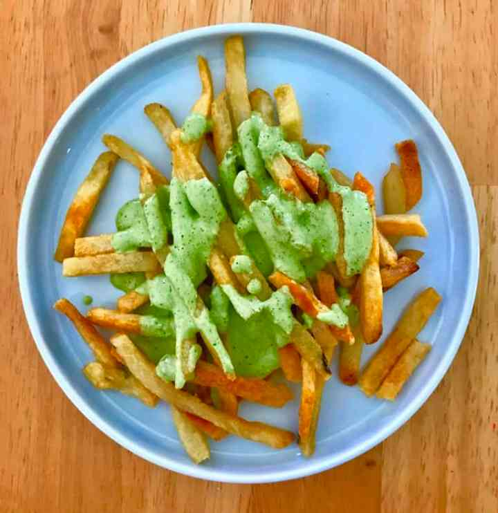 French Fries Slathered in Peruvian Salsa Verder