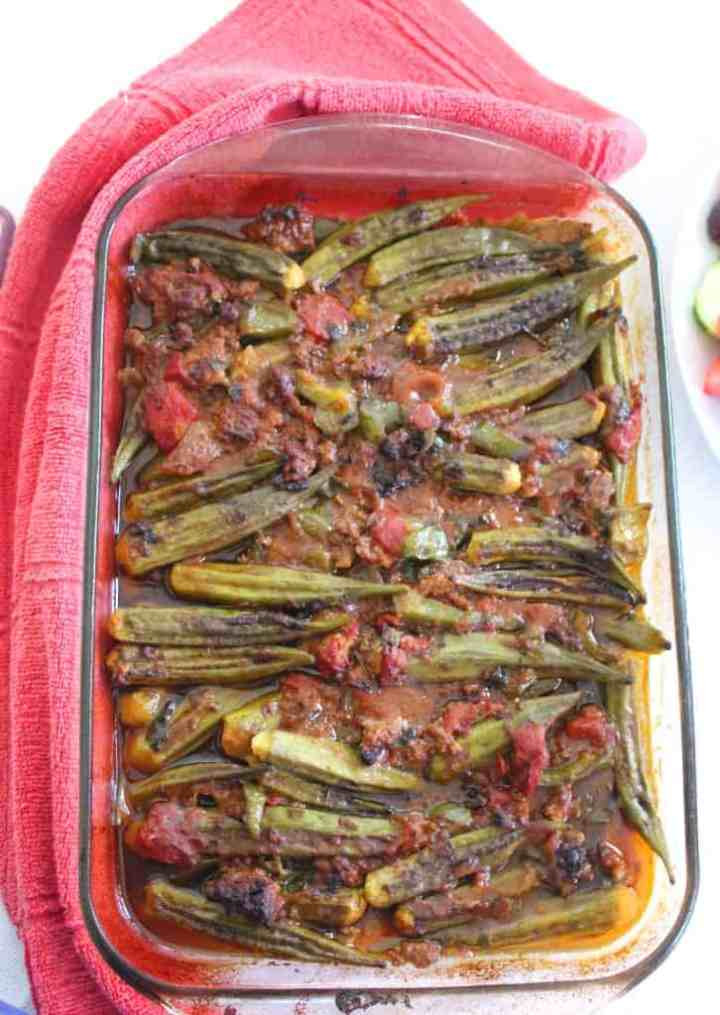 Okra Casserole with ground beef, tomatoes, parsley, onions, green pepper etc.