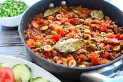 Skillet Ground Beef dinner inspired by Cuban Picadillo