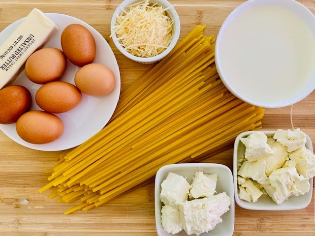 Ingredients for Baked Fettuccine Casserole (Pasticcio or Pasticho)