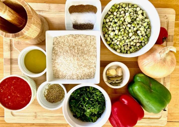 Ingredients and Quantities for Rice with Pigeon Pean