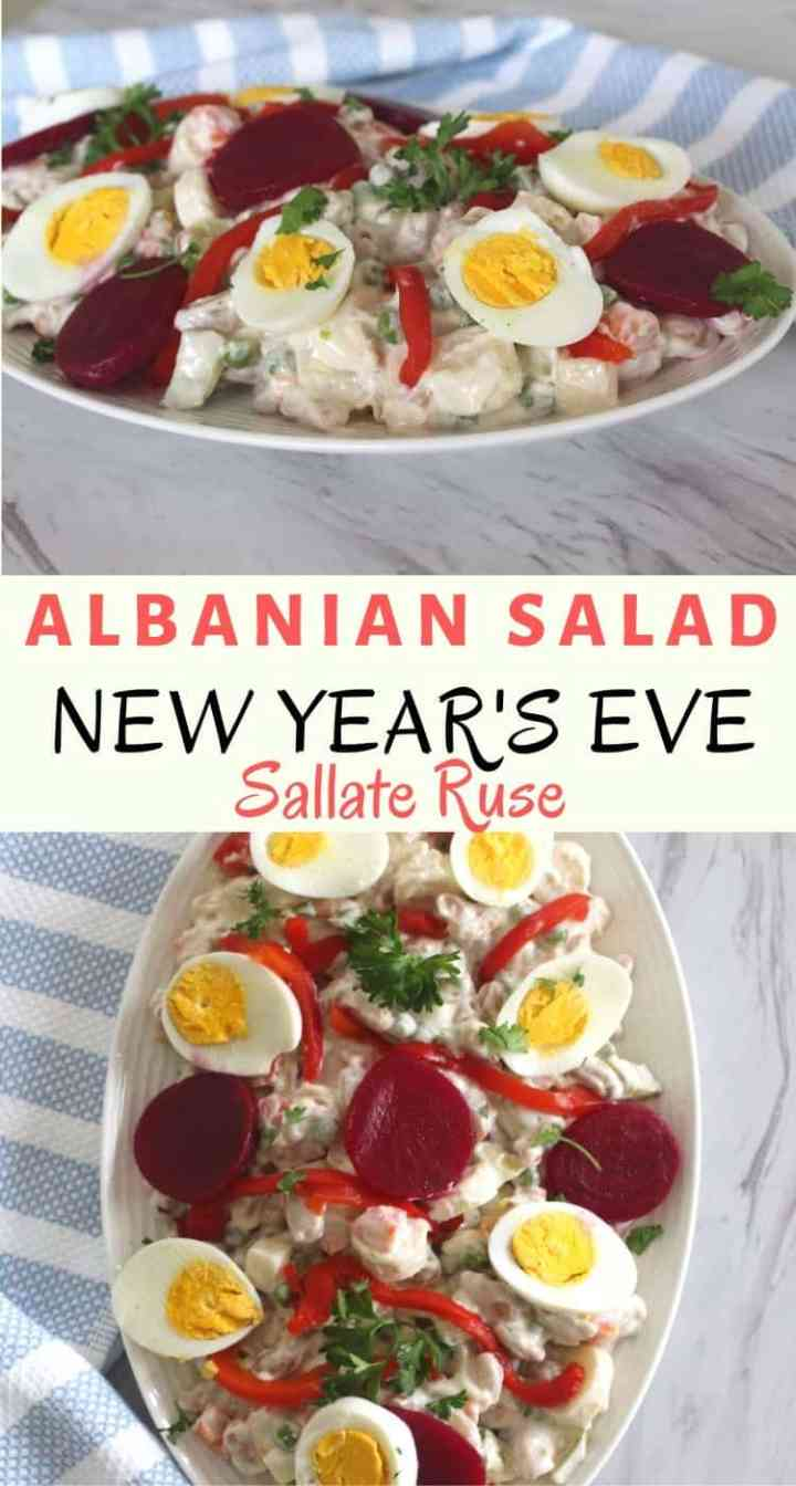 Two images from different angles of a russian salad dish as made in Albania. This version of russian salad, called sallate ruse is a staple in Albanian tables for New Year's Eve dinner.