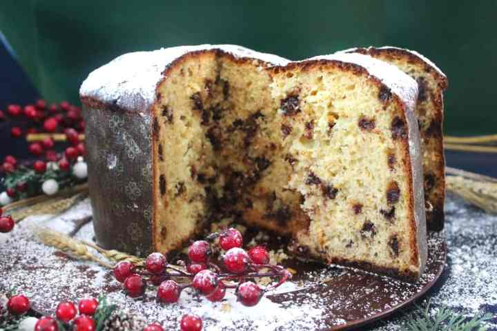 Chocolate Chips Panettone, sliced open to showcase the starry chocolate chips.