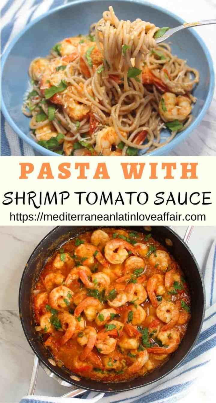 Gluten Free Quinoa Pasta served with Shrimp Tomato Pasta Sauce.