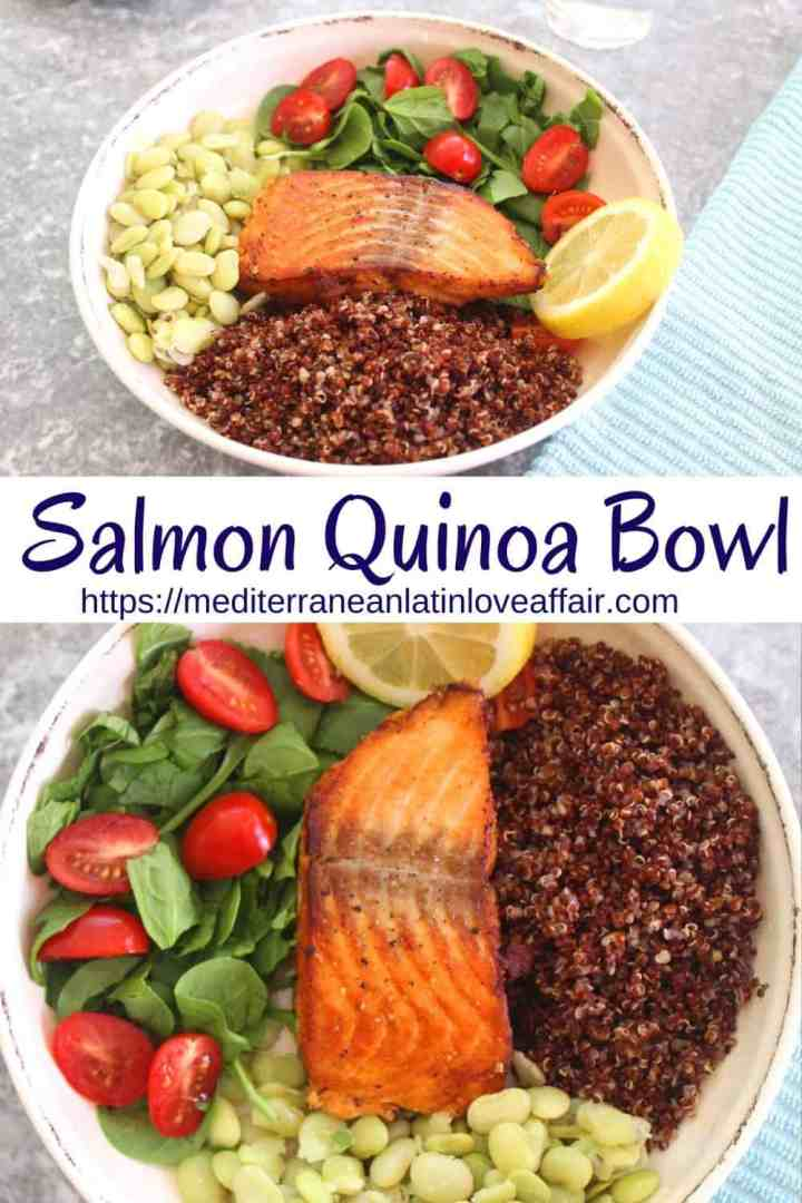 This Mediterranean Salmon Quinoa bowl is a delicious and healthy family dinner. Bowl shows salmon, red quinoa, green lima beans, spinach, grape tomatoes and lemon slice.