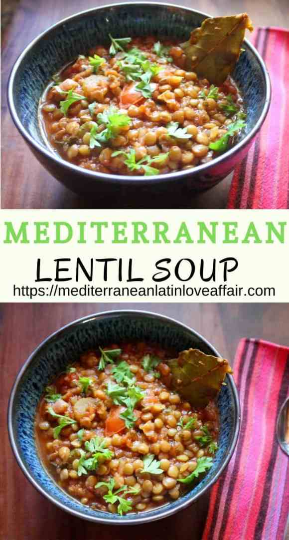 Mediterranean Lentil Soup topped with freshly chopped flat Italian parsley.