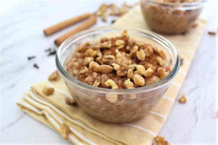 Albanian Wheat Pudding made with Farro, Dried Figs, Cloves, Walnuts and Cinnamon.