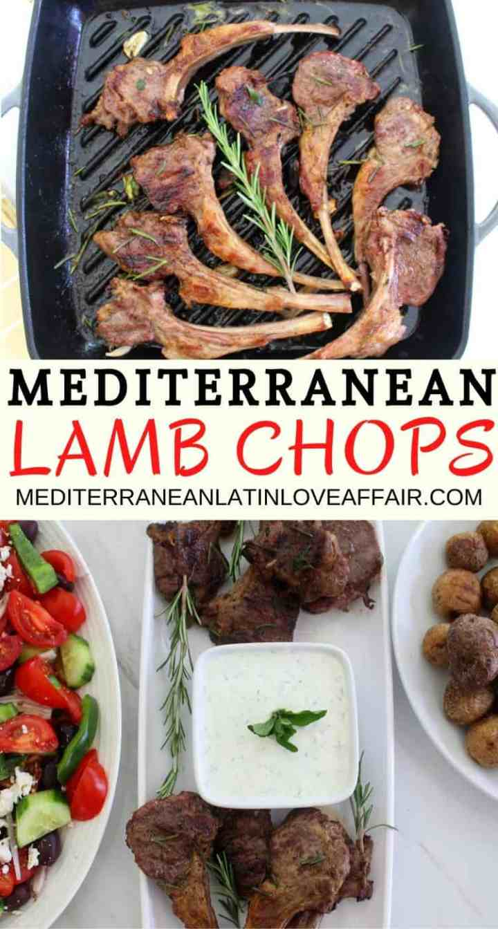 Herbed lamb chops with rosemary, oregano and served with Greek Tzatziki, salad and roasted potatoes.