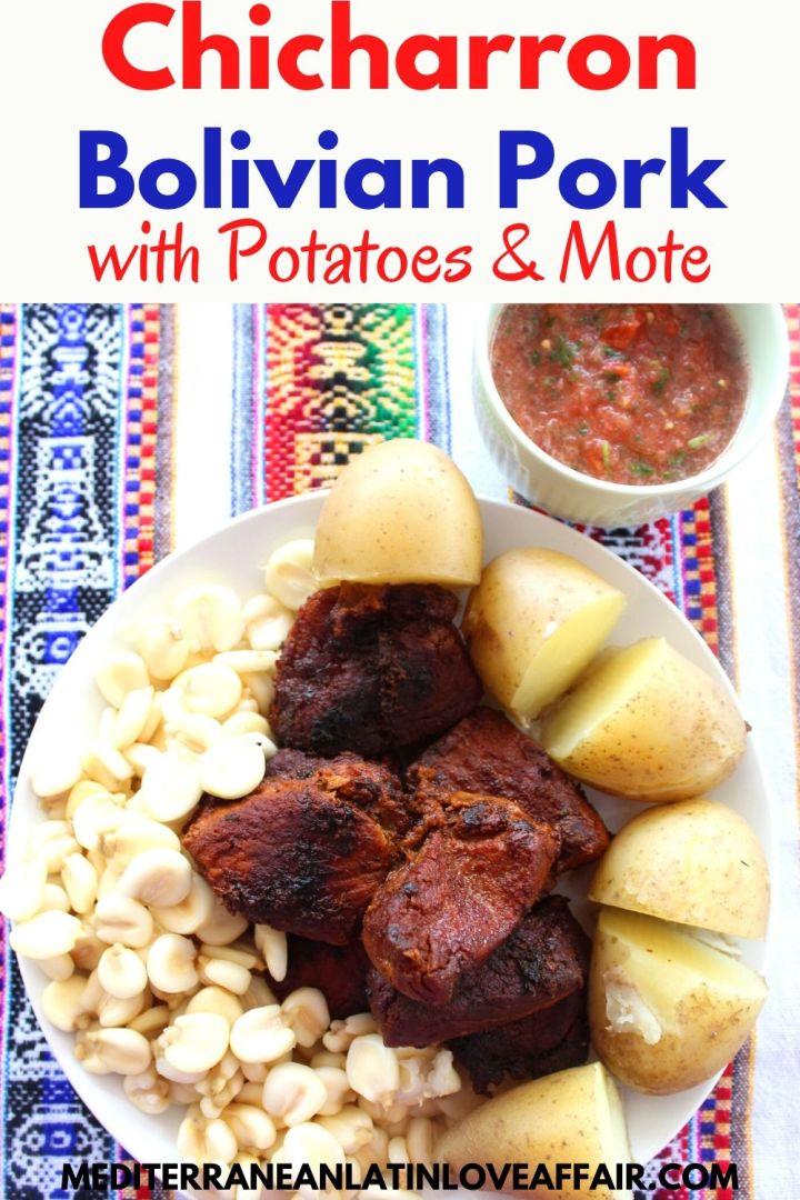 Pork chicharron shown plated with mote and potatoes, next to llajua salsa.