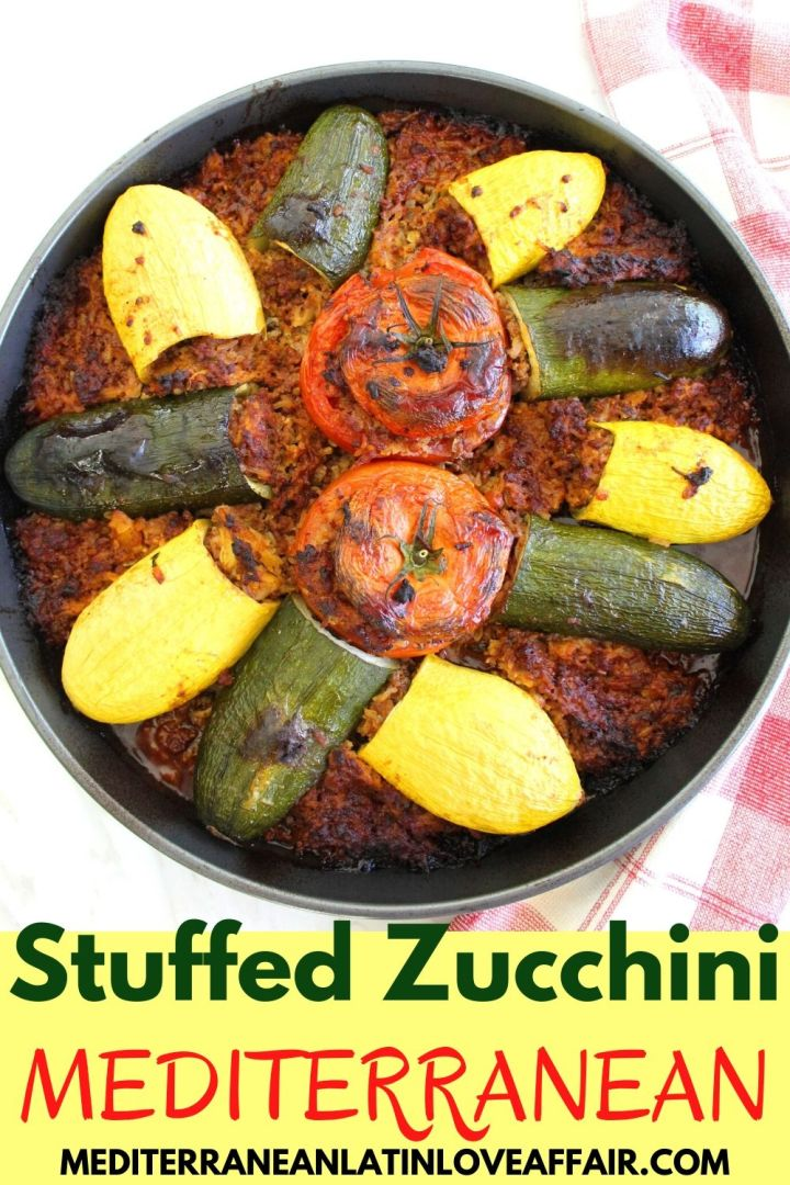 A Baked casseroles with stuffed vegetables like zucchini, yellow squash and tomatoes. The image is prepared for Pinterest showing the title under the picture so readers can pin it.