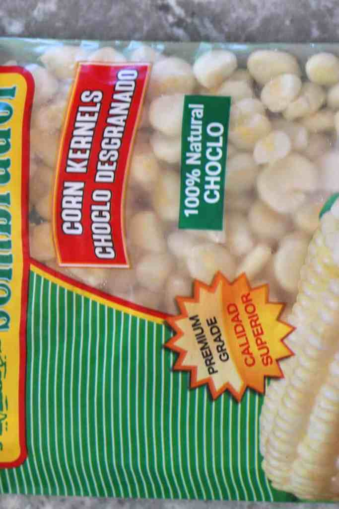 A frozen package of corn kernels called choclo desgranado in Spanish.