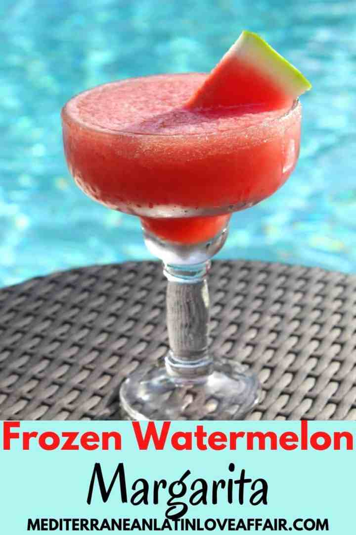 Poolside frozen watermelon margarita, garnished with a slice of watermelon.