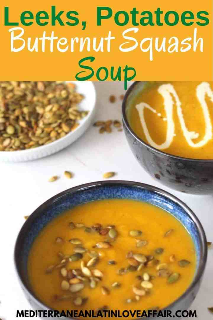 An image prepared specifically for Pinterest. It shows the picture of 2 bowls of soup: one topped with pepitas and the other topped with cream. On the background there's a plate with just pepitas. Image has a title bar on top and website link on the bottom.