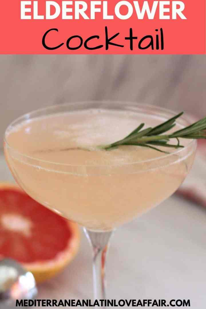An image prepared for Pinterest with a picture of the elderflower cocktail shown in the middle. On top there's a title bar and on the bottom a website link.