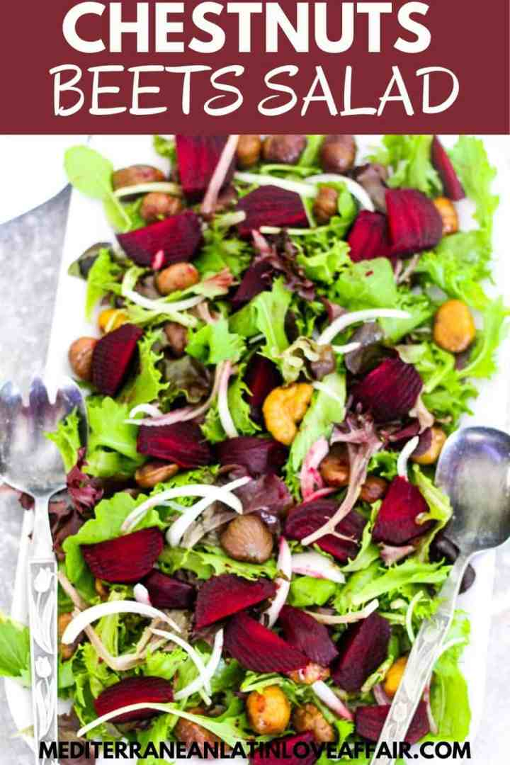 A family style salad with greens, beets and chestnuts.