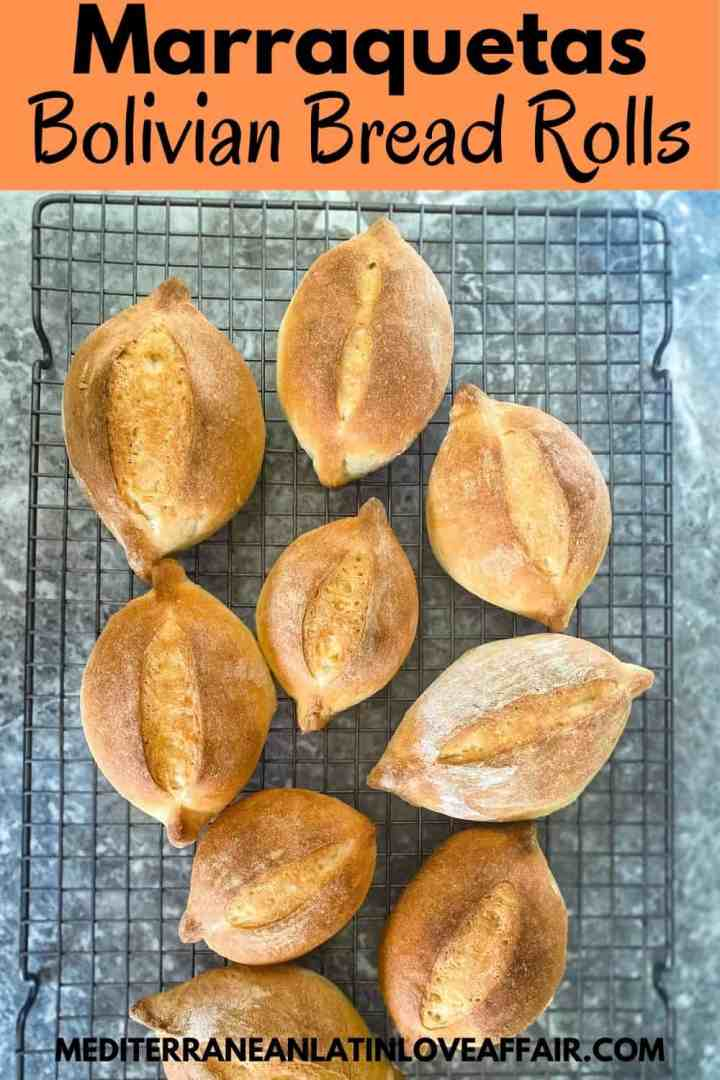 Marraquets or Bolivian Pan de Batalla (Battle Bread) on a cooling rack after just being baked.