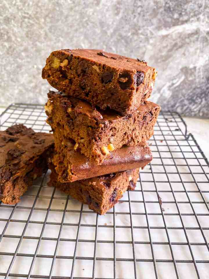 Homemade brownies with triple chocolate and walnuts.