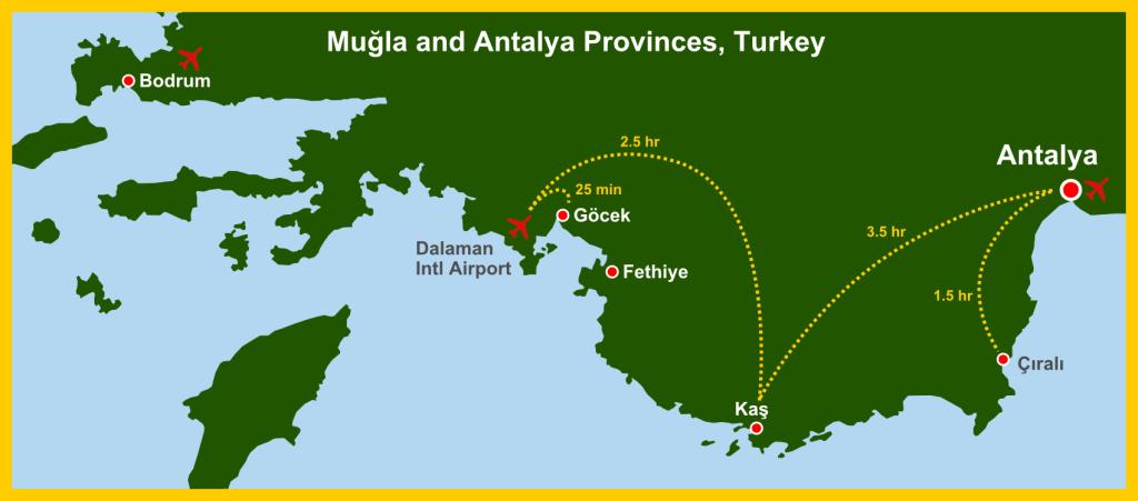 Map Antalya Mugla Province w routes