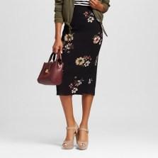 Printed Midi Pencil Skirt