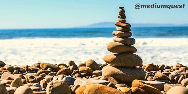 Pile of rock at beach