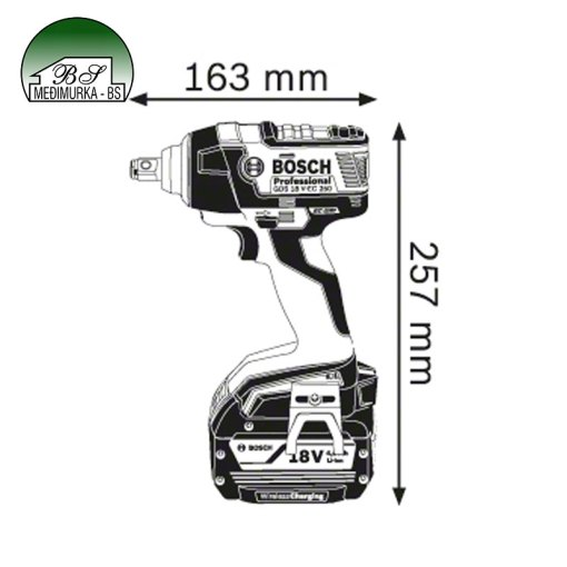 Akumulatorski udarni stezač Bosch GDS 18 V-EC 250 Professional