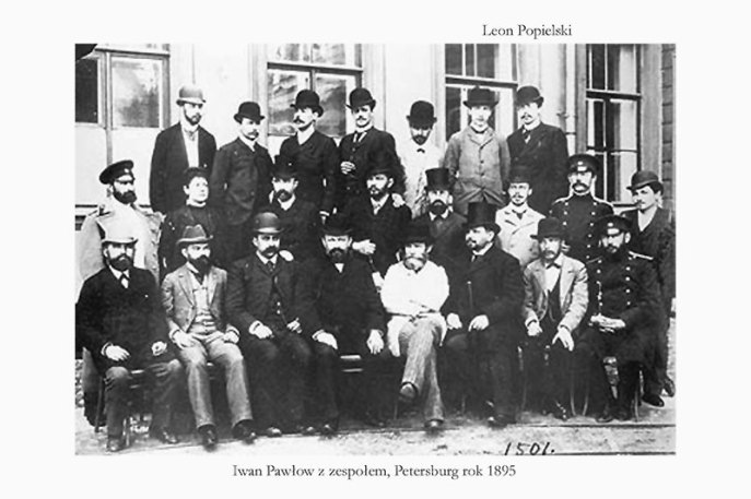 Fig.2 Leon Popileski (first in 3d row from right), I. Pavlov with colleagues, 1895.