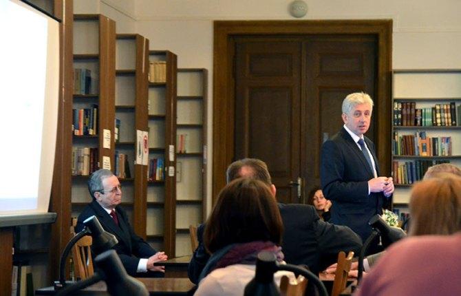 Зустріч з директором Національної бібліотеки Білорусі Р. С. Мотульським