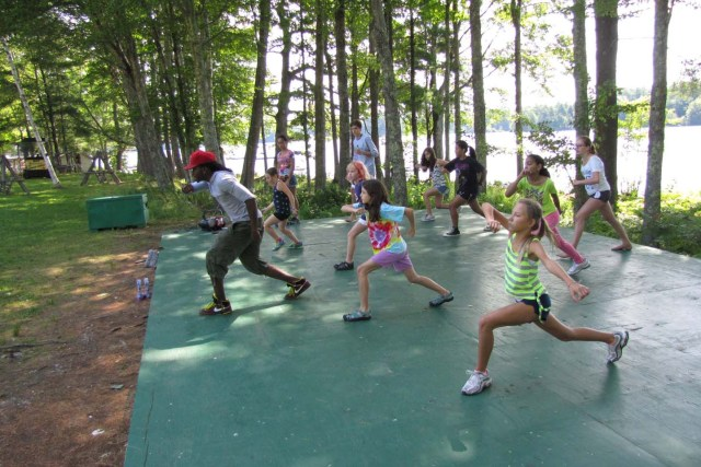 hip hop class by the lake at camp medolark
