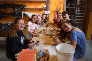 campers creating pottery