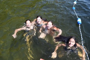 Campers swimming in the Lake