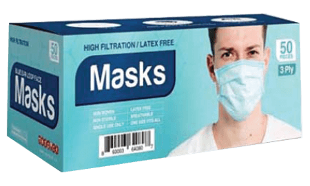Disposable 3 Play Face Mask - Pack Of 50 - Surgical Mask - Virus Protection At Medorna