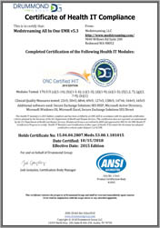 Certificate of EMR Compliance (2015)