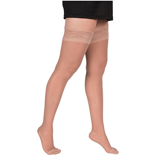 2-Pair-EvoNation-Womens-Energizing-15-20-mmHg-Moderate-Support-Thigh-High-Stay-Up-Lace-Top-Compression-Hose-Stockings-0-1