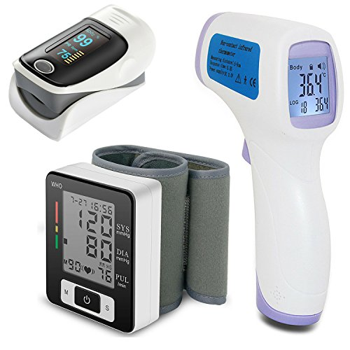 Blood-Pressure-Monitor-Infrared-Thermometer-Fingertip-Pulse-Oximeter-Blue-Pink-Grey-Purple-Green-Magnetic-Vital-Signs-Reading-Guide-Complete-Health-Bundle-in-Gift-Ready-Foam-Padded-Storage-Box-0