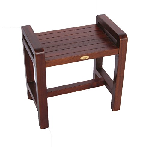 Classic-18-Teak-Shower-Bench-with-LIFTAIDE-ARMS-ADUSTABLE-HEIGHT-FOOT-PADS-Home-Health-Medical-Bench-Features-Sitting-Shaving-Display-Storage-0