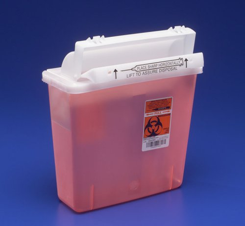 656dca89d1b0 Covidien COV-8507SA SharpSafety Safety In Room Sharps Container  Counterbalance Lid, 5 quart Capacity, Transparent Red