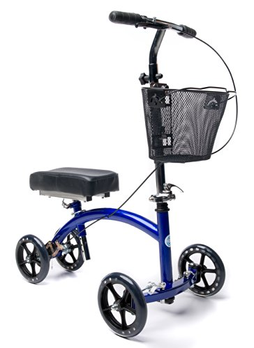 Deluxe-Steerable-Knee-Walker-Knee-Scooter-Knee-Cycle-Leg-Walker-Crutch-Alternative-in-Blue-0