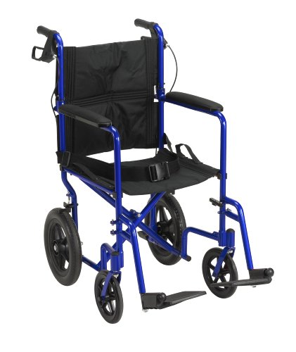 Drive-Medical-EXP19LTBL-Lightweight-Expedition-Transport-Wheelchair-Blue-with-Hand-Brakes-Size-19-0