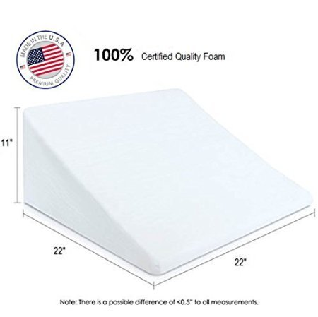 Eva-Medical-Wedge-Bed-Pillow-22-x-22-x-11-with-white-pillow-cover-MADE-IN-USA-0-1