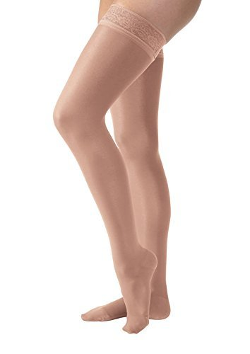 JOBST-UltraSheer-Compression-Support-Thigh-High-30-40mmHg-wSilicone-Lace-Band-Petite-Closed-Toe-S-Classic-Black-0