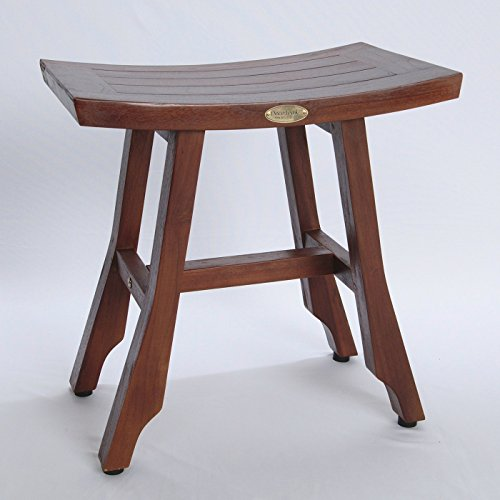 Patent-Pending-Satori-Solid-Teak-Shower-Bench-Asia-Style-13-X-18-With-Adjustable-Foot-Pad-Levelers-0