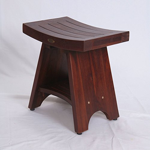 Patent-PendingFULLY-ASSEMBLED-Serenity-Asia-Style-Teak-Serenity-Shower-Bench-Stool-with-Storage-Shelf-for-Shampoo-Toiletries-Bathroom-spa-bath-0-1